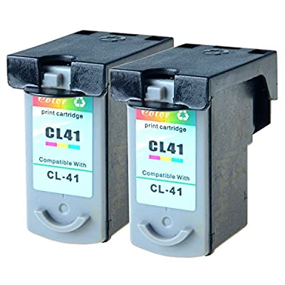 GREENCYCLE 2 Pack CL41 CL-41 Tri-color Ink Cartridge Compatible with Canon FAX JX200 PIXMA iP1600 iP1800 MP180 MP450 MX310 Printer