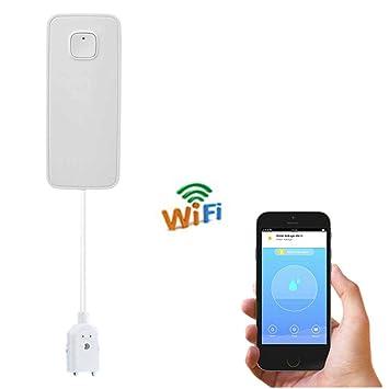 ZSLGOGO Alarma de Fugas de Agua WiFi, Detector de Fugas de Agua inalámbrico, Alerta de Fugas de la aplicación Inteligente, Sensor de Agua inalámbrico ...