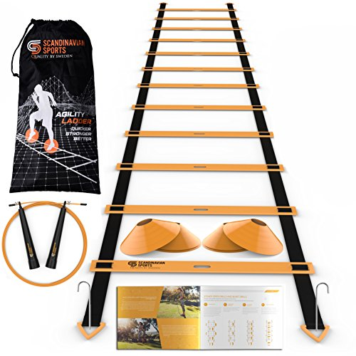 Scandinavian Sports Speed Training Set - Agility Ladder, Jump Rope, Sport Cones and Exercise folder - Premium TRAINING TOOL SET For Faster Footwork And Better Movement Skills (Training Rope)