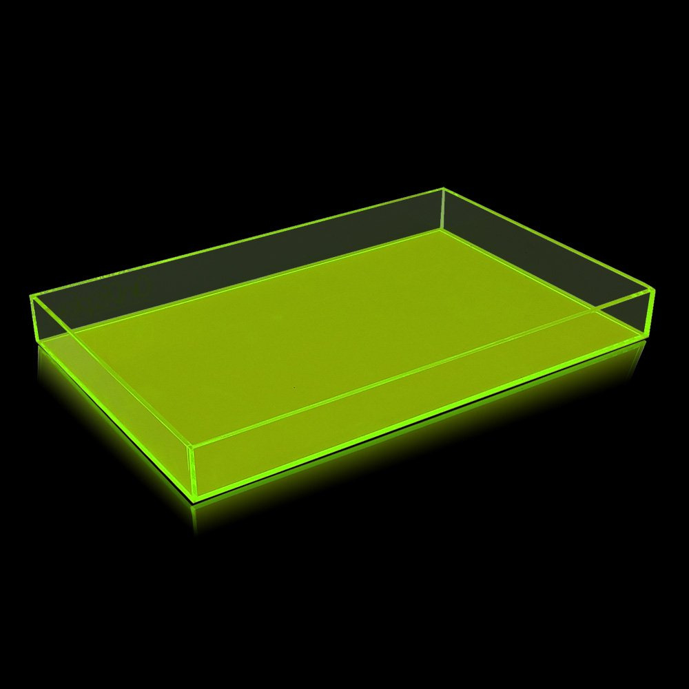 OnDisplay Electric Neon Luxe Clear Acrylic Stackable Cosmetic Jewelry Tray – Neon Yellow