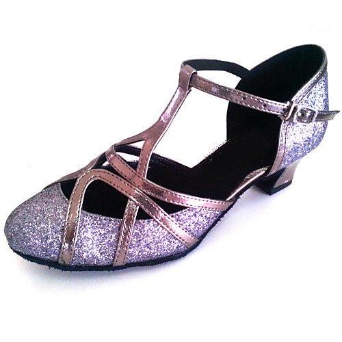 T.T-Q Zapatos de Danza Moderna para Mujer Más Colores Bronce Sandalias Latinas Salsa Jazz Tango Swing Practice Indoor Performance Bronce