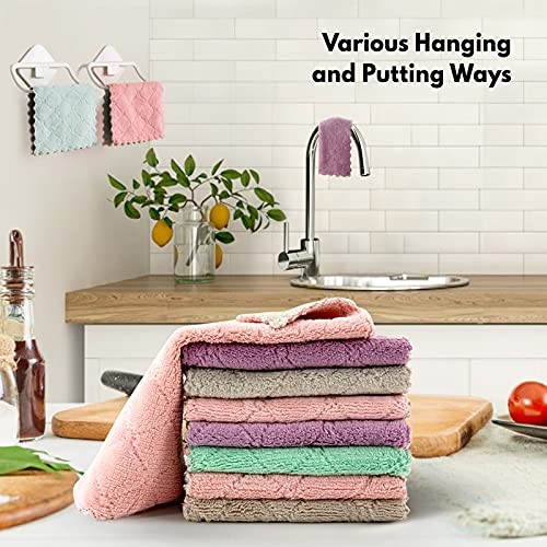 Dish Towels,18 Pack Kitchen Dishcloth,DANIA & DEAN Super Absorbent Microfiber No Odor Reusable Dishtowels Nonstick Oil Fast Drying Dish Rags for Cleaning Dishes,Car,Kitchen and Bath(Green&Gray)