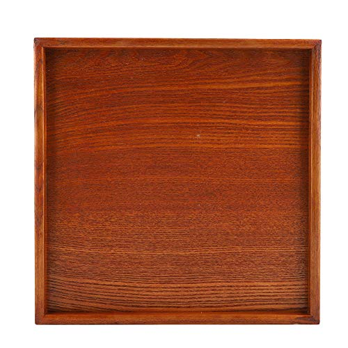 Natural Wood Serving Tray,Square Solid Wood Tea Tray,Wooden Plate Platter Tea Food Dishes for - All Natural Wood Solid Tray