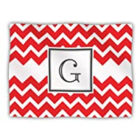 Kess InHouse KESS Original 'Monogram Chevron Red Letter G' Dog Blanket, 40 by 30-Inch