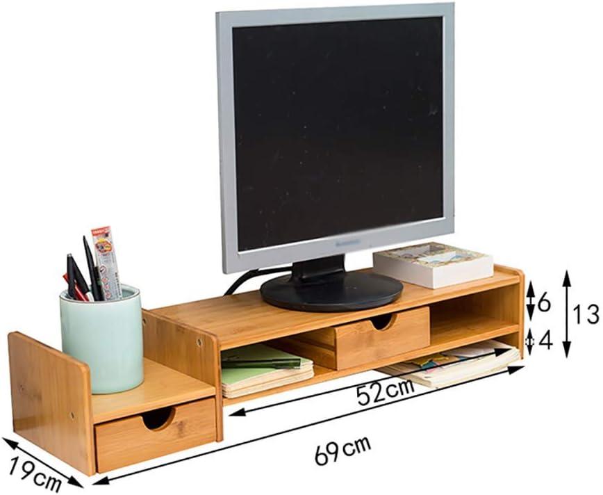 SED Soportes para Tv Soportes para Monitor de Computadora con Cajones, Base para la Oficina en el Hogar Sala de Estar Estante de Almacenamiento en el Dormitorio Soporte para Computadora con Pantalla:
