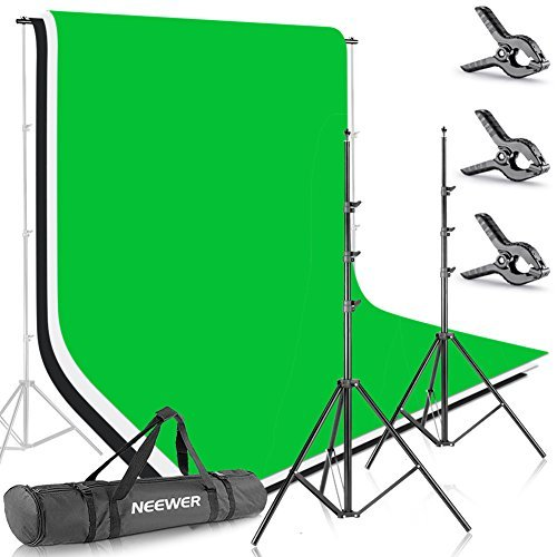 Neewer 8.5ft X 10ft/2.6M X 3M Background Stand Support System with 6ft X 9ft/1.8M X 2.8M Backdrop(White,Black,Green)for Portrait,Product Photography and Video Shooting