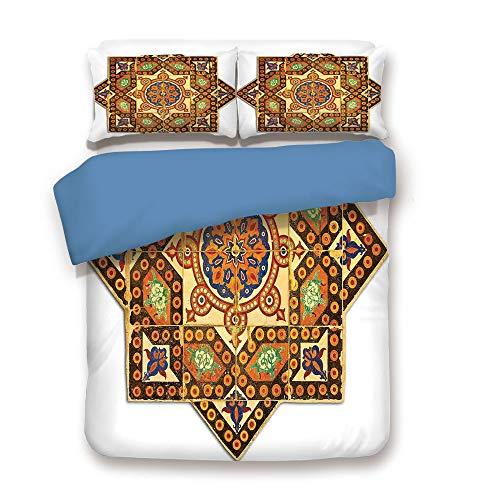 Duvet Cover Set,BLUE BACK,Arabian Decor,Vintage Floral Geometrical Pattern with Turkish Ottoman Calligraphic Art Style Old Boho Print,Multi,Decorative 3 Pcs Bedding Set by 2 Pillow Shams,King Size -