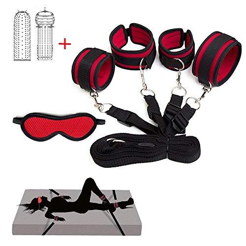 Tgmxte Bed Rêštráint Set Kit for Couples Sê&x Play Eldërly Bōňdägéromance Adult Adjustable Straps Toy with Soft Wrist and Ankle Cuffs