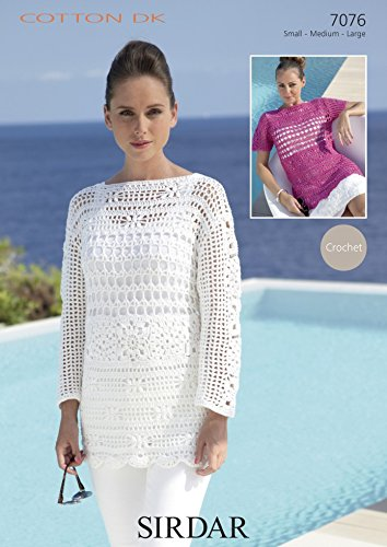 Sirdar Ladies Top Sweater Cotton Crochet Pattern 60 DK Amazon Mesmerizing Cotton Crochet Patterns