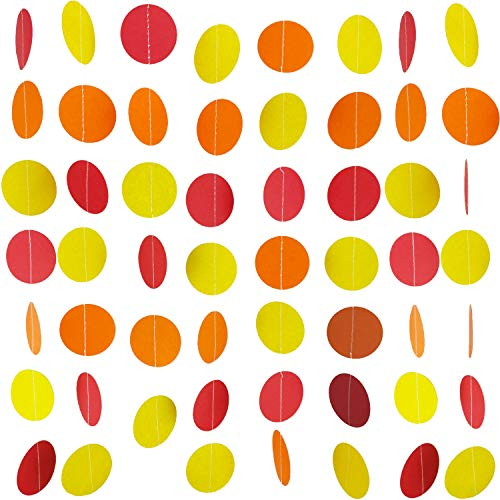 Famicitate Circle Dots Paper Party Garland Backdrop Hanging Decorations for Wedding Baby Shower Birthday Party Decorations(Pack of 3, 13 Feet Per Garland)-Yellow/Orange/red