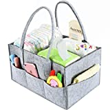 Baby Diaper Caddy Organizer By Brolex: Large Capacity Nursery Organizer For Boys Girls– Unisex Portable Travel Organizing Basket With Lightweight, Sturdy & Versatile Design,Grey Image