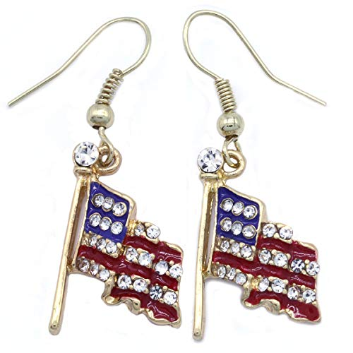 4th of July Independence Day Stars Stripes American USA Flag Star Stud Post Earrings Charm (Flag Dangle - Gld)