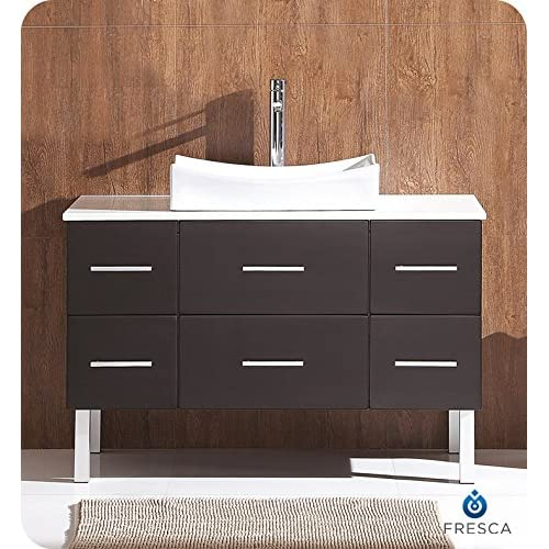 "hot sale 2017 Fresca FCB6123ES-CMB Distante 44"" Espresso Modern Bathroom Cabinet with Top & Vessel Sink"