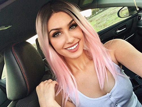 Daily Makeup Black Ombre Pink Cosplay Masquerade Party Synthetic Lace Front Wig Review