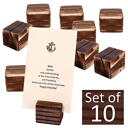 MyGift Rustic Wood 2 Inch Place Card Holders, Table Number Stands, Set of 10