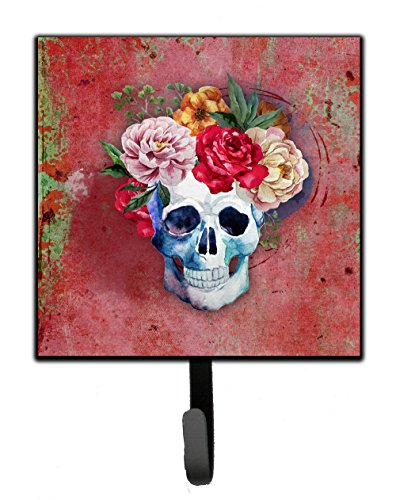 Caroline's Treasures Day of The Dead Red Flowers Skull Wall Hook, Small, Multicolor