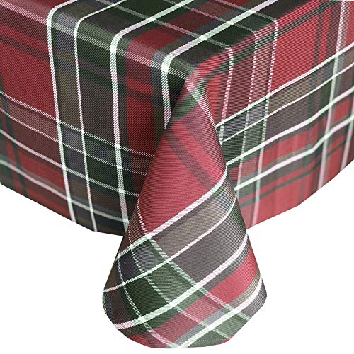 Newbridge Winter Cottage Christmas Plaid Fabric Tablecloth, 100% Cotton Weave Tartan Plaid Holiday Tablecloth, 52 Inch x 70 Inch Oblong/Rectangle -