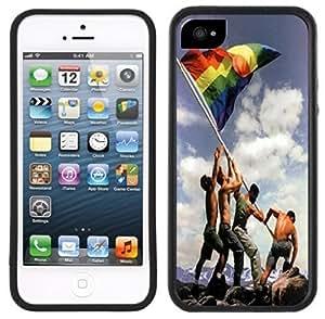 LJF phone case Gay Pride Rainbow Flag Handmade iphone 6 plus 5.5 inch Black Case