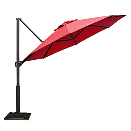 Abba Patio Offset Cantilever Umbrella 11 Feet Outdoor Patio Hanging Umbrella  With Cross Base,