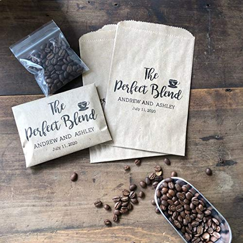 Bridal Shower Coffee Favor - Coffee Favor Bag- Wedding Favor - Coffee Bean Espresso Favor - Custom Paper Bags The Perfect Blend Bridal Blend Coffee Wedding Favors