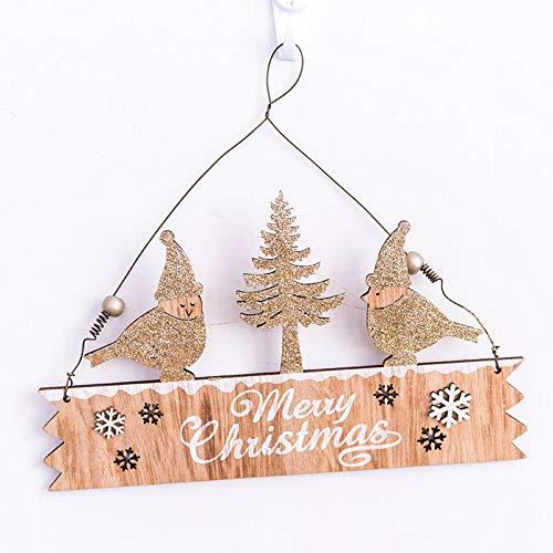 Lovewe Christmas Elk Wood Plate,Hollow Door Hanging,Wooden Pendant,Xmas Ornaments Decor (G)