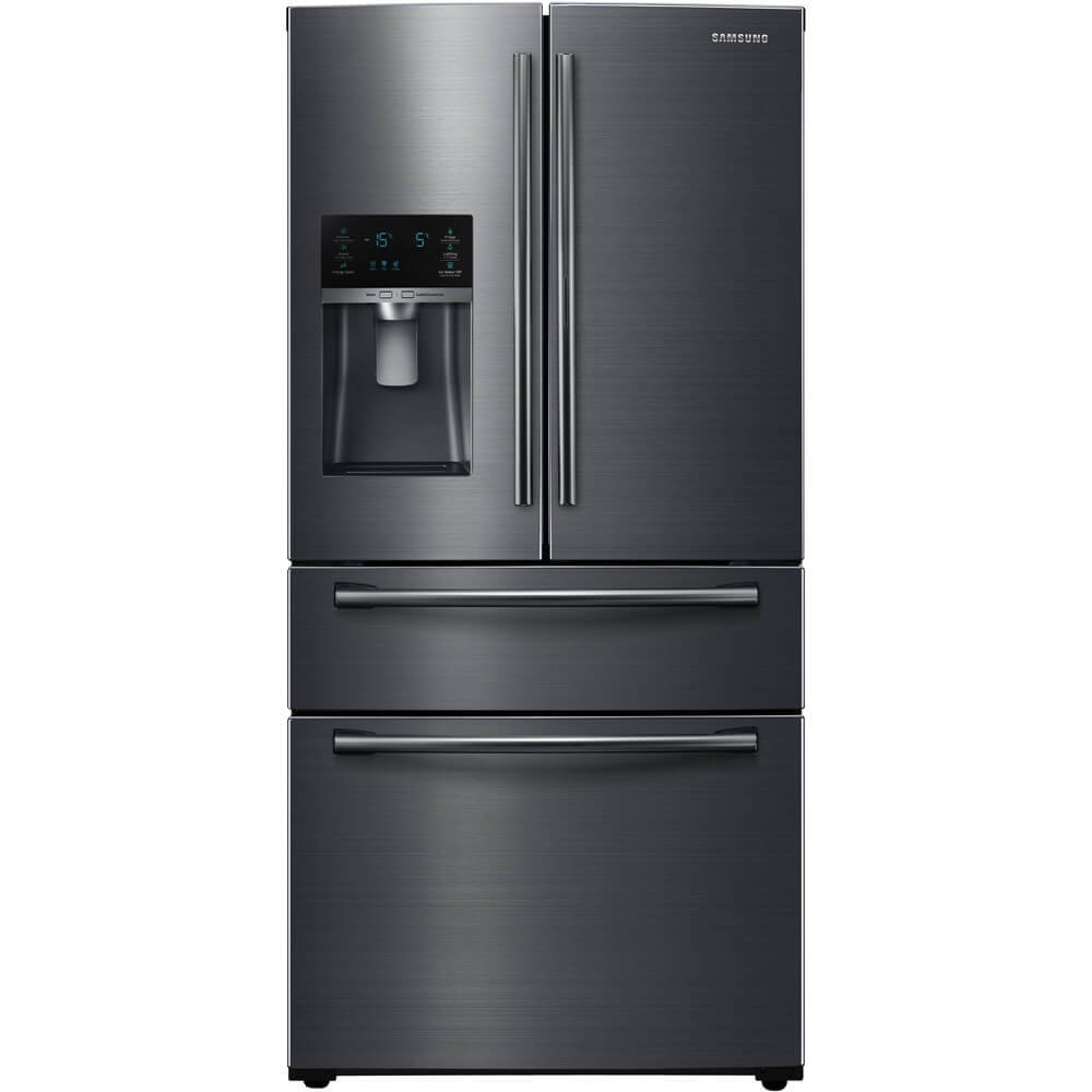 Samsung Fingerprint Resistant Black Stainless Steel 4-Door French Door Refrigerator RF25HMEDBSG/AA