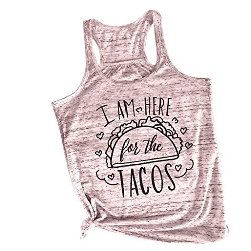 MISYAA Tops for Women, Tacos Print Tank Top Baggy Sleeveless Tunic Shirt Summer Hot Sweatshirt Casual Shirt Tees Camis Pink -