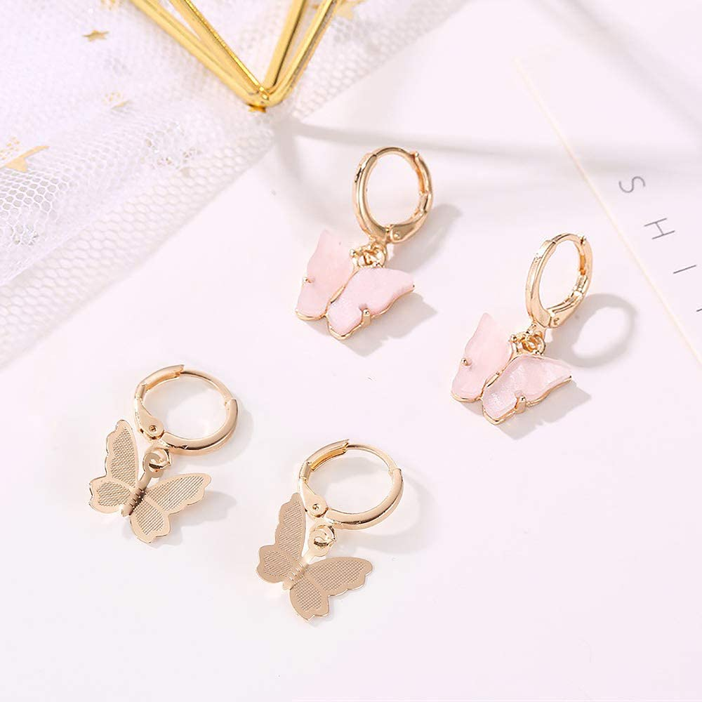 6 Colors Butterfly Drop Earrings Tiny Dainty Mini Butterfly Hoop Earrings Set