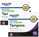 Equate Multipack Assorted Tampons, Unscented, 36 Ct (Pack of 2)