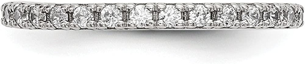 Sterling Silver Fashion Ring Open Back Flat Solid Polished 1.5 mm CZ Ring