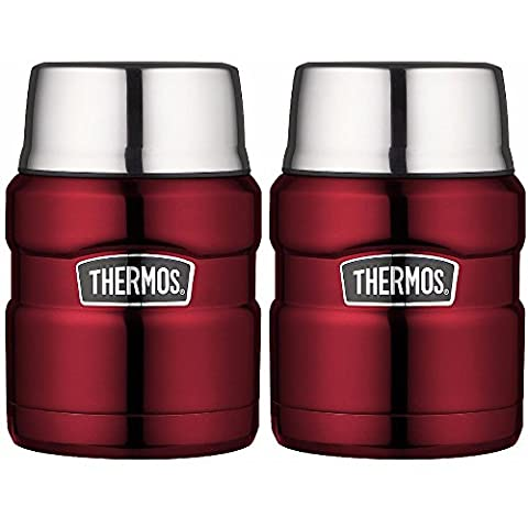 Thermos Stainless King Vacuum Insulated 24 oz. Food Jar (Cranberry Red) 2PK (Stainless King Ounce Food Jar)