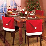 The Purple Tree Cute Christmas Chair Covers (Red and White) - Set of 6 Dinning Chair Cover, Santa Hat Chair Covers, Christmas Decoration