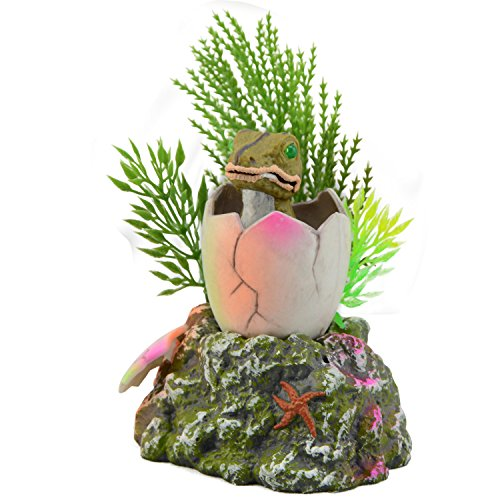 Saim Baby Dinosaur Hatching out Aquarium Ornament Fish Tank Decoration ()