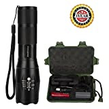 LED-Flashlight-Amz-vision-Portable-LED-Tactical-Flashlight-Water-Resistant-Outdoor-Torch-with-18650-Rechargeable-Battery-Adjustable-Focus-5-Modes