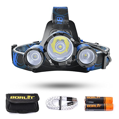 BORUiT Leo 21 LED Headlamp, 4 Modes Headlight, 6000 lumen, As 4400mAh Power Bank, for Running, Camping, Hiking, 2 PCS 18650 Batteries and Cable Included (Blue)