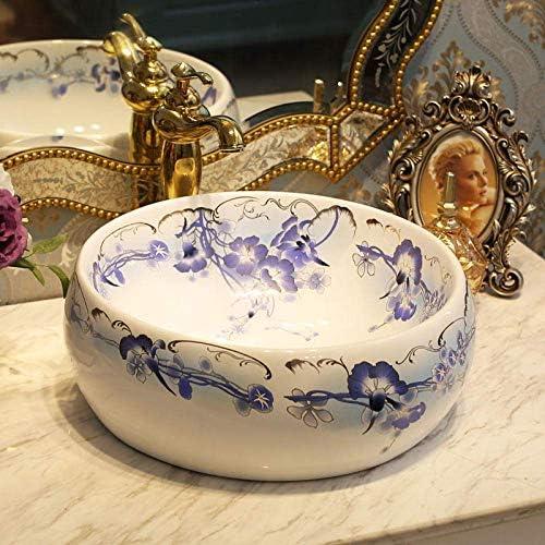 Yadianna ラウンド磁器のバスルームには、中国の芸術カウンタートップセラミック装飾美術青と白のセラミック洗面台のバスルームのシンクの洗面化粧台