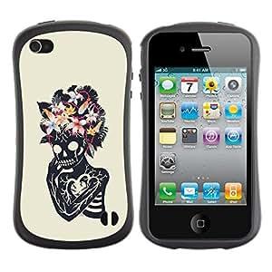Be-Star Impreso Colorido Diseño Antichoque Caso Del Iface Primera Clase Tpu Carcasa Funda Case Cubierta Par Apple iPhone 4 / iPhone 4S ( floral heart skull skeleton spring )