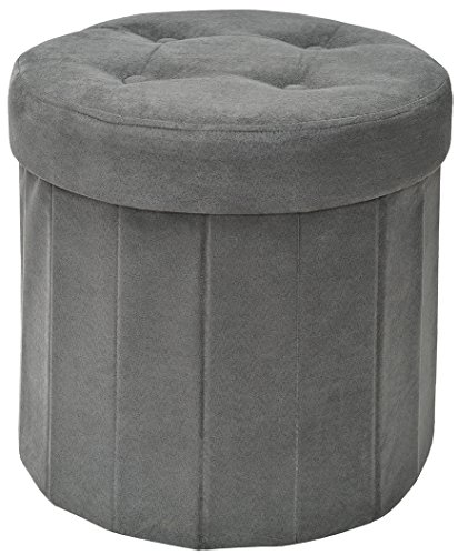 Fresh Home Elements 250053-006 Round Storage Ottoman, 15 by 15 by 15-Inch, Grey Microsuede
