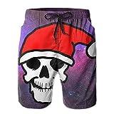 Santa Hat Skull Men's Summer Swim Surf TrunksM