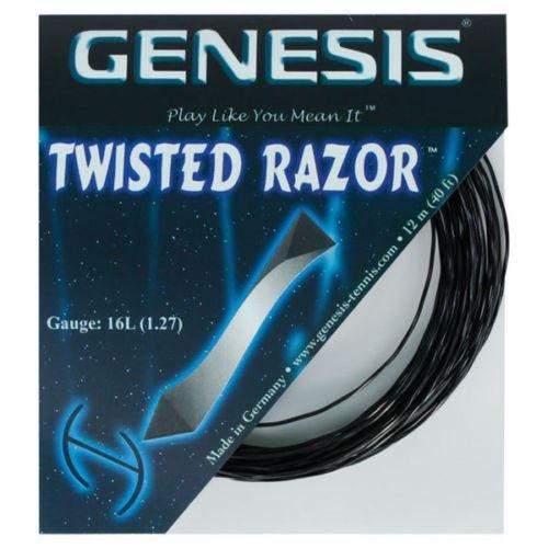 (Genesis 40-Feet Twisted Razor Tennis Racket String Set, Pitch Black, 16L/1.27mm)