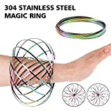 HAS 304 Stainless Steel Firm Flow Ring Magic Bracelet Toy for Stress Relief Kinetic Science Educational Spring Ring Multi - Sensory Interactive Cool Dance Prop (Rainbow)