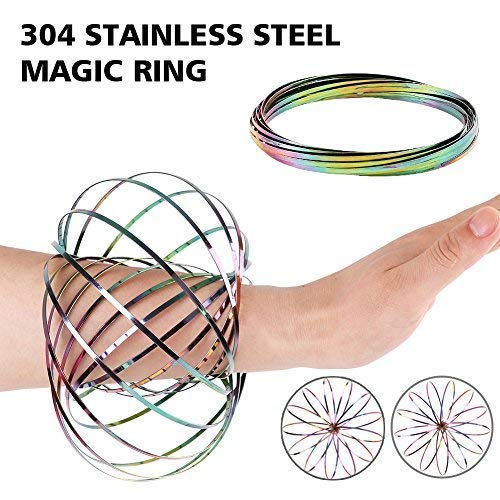 Spiral Bracelet - HAS 304 Stainless Steel Firm Flow Ring Magic Bracelet Toy for Stress Relief Kinetic Science Educational Spring Ring Multi - Sensory Interactive Cool Dance Prop (Rainbow)