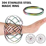 HAS 304 Stainless Steel Firm Flow Ring Magic Bracelet Toy for Stress Relief Kinetic Science Educational Spring Ring Multi - S