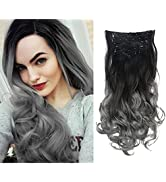 SARLA Ombre Hair Extensions Black to Gray 7Pcs Clip in Full Head Curly Wavy Hairpiece Synthetic 2...