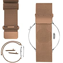 Aisun 18mm Magnetic Milanese Loop Stainless Steel Magnet Closure Lock Watch Band For Huawei watch, Withings Activite, Activite Pop or Activite Steel (Rose Gold)