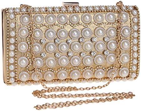 ウィメンズパールイブニングバッグ、ウィメンズパーティードレスクラッチ(色:ゴールド)クラフトパール、上質ハードウェア 美しいファッション