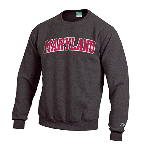 Champion NCAA Maryland Terrapins Men's Eco Powerblend Crew Neck Sweat Shirt, Small, Granite (Maryland Terps Ncaa Hoody)