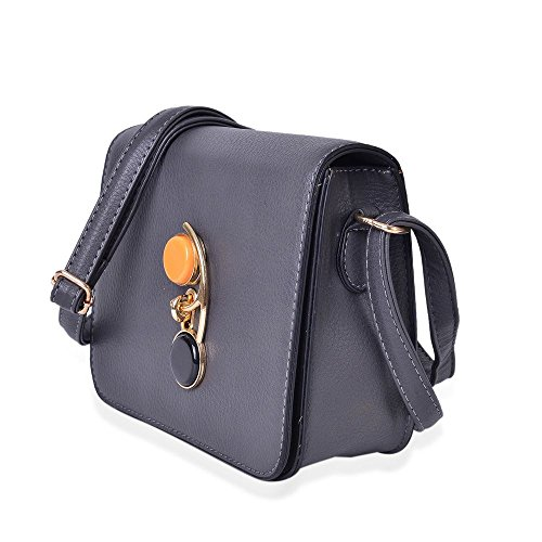 Closure Adjustable Shoulder Bag Grey Swing Strap Lock with Crossbody 4qSwnAxOgS