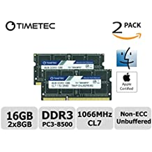 Timetec Hynix IC Apple 16GB Kit (2x8GB) DDR3 PC3-8500 1066MHz memory upgrade for MacBook 13-inch Mid 2010, MacBook Pro 13-inch Mid 2010, iMac 27-inch Late 2009 (16GB Kit (2x8GB))