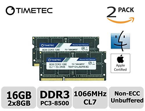 Timetec Hynix IC Apple 16GB Kit (2x8GB) DDR3 PC3-8500 1066MHz memory upgrade for MacBook 13-inch Mid 2010, MacBook Pro 13-inch Mid 2010, iMac 27-inch Late 2009, Mac Mini Mid 2010/Server by Timetec